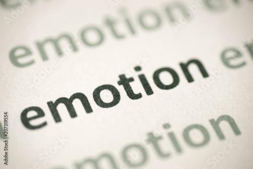 Photo word emotion printed on paper macro