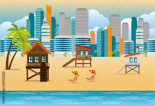 miami beach cityscape set scenes vector illustration design Canvas Print