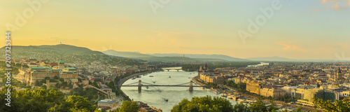 Canvas Prints Historical buildings View to Budapest skyline form Citadella Hill at sunset