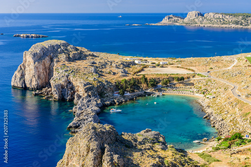 Looking down onto St Paul's Bay at Lindos on the Island of Rhodes, Greece