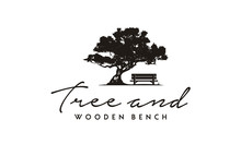 Silhouette Of Wood Bench And Tree Illustration Logo Design