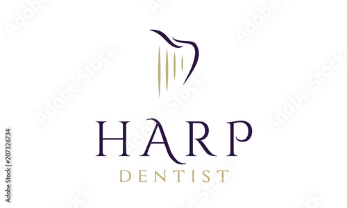 Tablou Canvas Dentist / Dental Logo design inspiration with Harp and Tooth