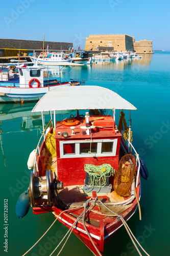 Old fishing boats at Heraklion Port