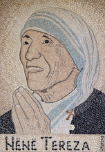 Mother Teresa Mosaic In St Paul's Cathedral In Tirana, Albania.