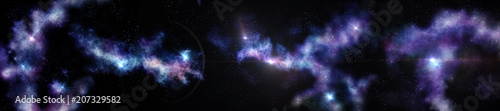 a panorama of the cosmic landscape, a view of the galaxies, nebulae and stars, 3D rendering