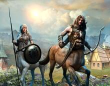 Centaur Scene 3D Illustration