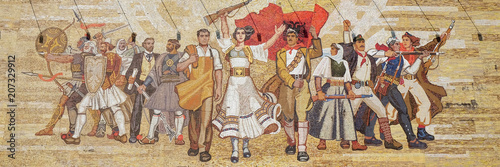 Fotobehang Oost Europa Mosaic above the National History Museum featuring Socialist propaganda and heroic revolutionary, Tirana, Albania.
