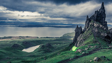 Rainy Clouds Over Tent In Old Man Of Storr, Scotland