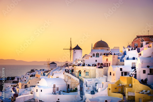 Fototapety, obrazy: Santorini island at sunset, viewpoint from Oia village, Santorini, Greece