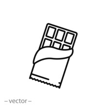 Chocolate Line Icon, Opened Chocolate - Vector Illustration Eps10