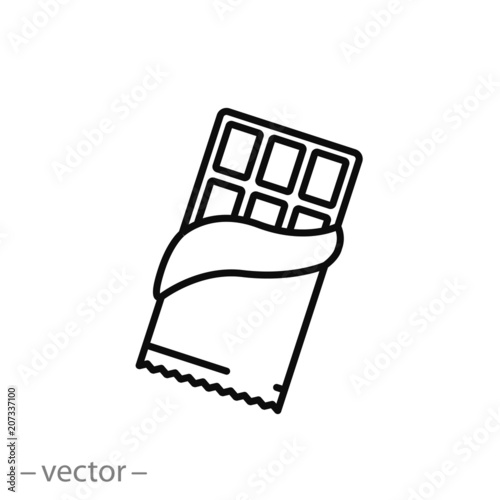 Fotografie, Obraz Chocolate line icon, opened chocolate - vector illustration eps10