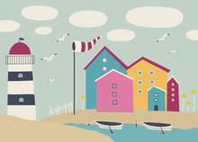 Vector Landscape With Boats, Lighthouse And Beach Huts.