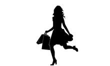 Silhouette Of A Woman Was Runn...
