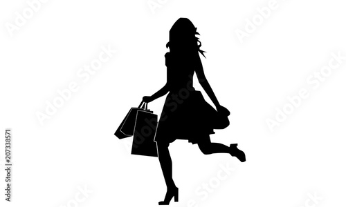 silhouette of a woman was running with a shopping bag Fototapeta