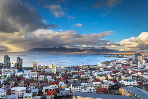 Fotografie, Tablou  Reykjavik - May 01, 2018: Panoramic view of Reykjavik from the Hallgrimskirkja c