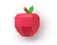 Red Lowpoly 3d Apple. Detailed 3d Illustration Isolated On White Background