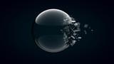 3D rendering broken glass sphere on dark background .