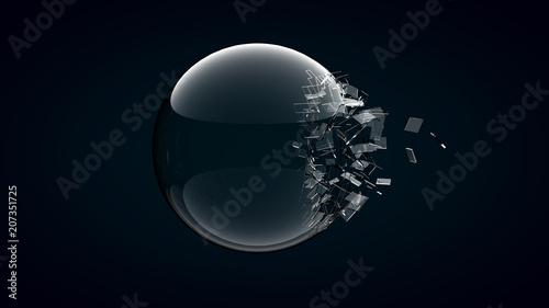 Fotografía  3D rendering broken glass sphere on dark background .