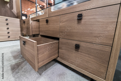 Fotomural Wooden cabinet drawer box in bedrom luxury dressing room