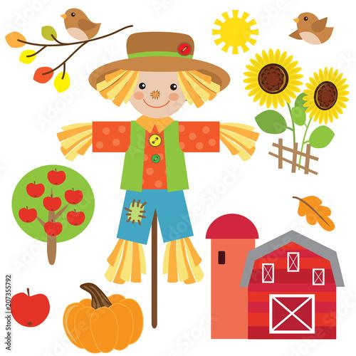 Obraz na plátně Cute scarecrow vector cartoon illustration
