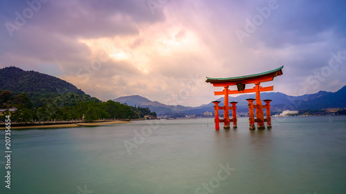 LONG EXPOSURE PHOGRAPHY OF MIYAJIMA TORII GATE , HIROSHIMA, JAPAN