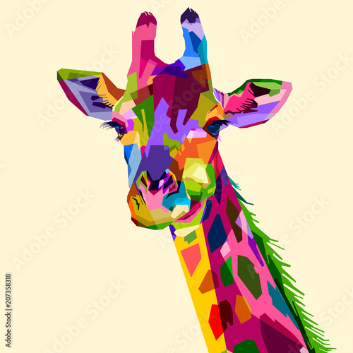colorful wildlife mammal fauna giraffe Wallpaper Mural