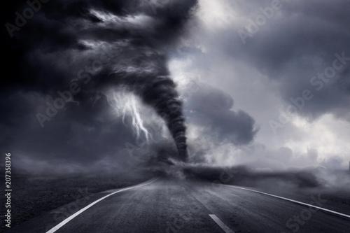 Cuadros en Lienzo A large storm producing a Tornado, causing destruction