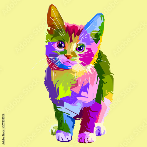 colorful innocent cat and very cute