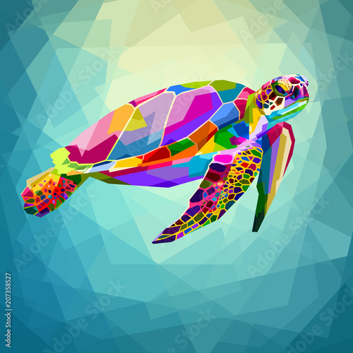 Fotografie, Tablou  colorful turtle floating underwater in the geometric blue water ocean