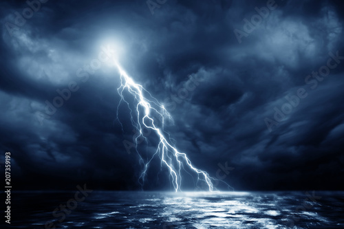 Poster de jardin Tempete Lightning storm over Black sea near