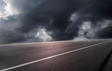 Road Asphalt On Cloud Storm
