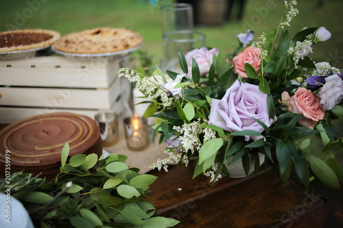 Wedding Dessert Bar With Cookies Cakes And Pies Rustic Wedding