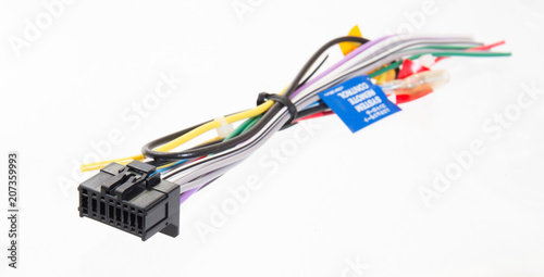 Photo  Car Audio wiring on white background