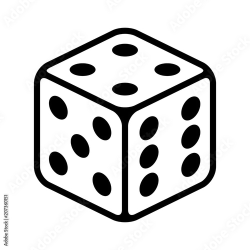Six sided dice / die for casino gambling line art vector icon for apps and websi Fototapete