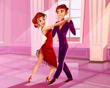 Couple Dancing In Ballroom Vector Illustration Of Tango Dancer. Man And Woman In Red Dress At Latin American Dance Contest Or Show In Royal Palace Hall With Marble Pillars On Cartoon Background