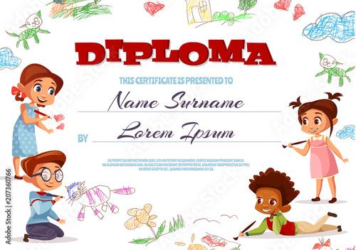 diploma template vector illustration of kindergarten certificate for