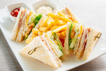 Club Sandwich With Vegetable A...