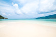 Beautiful white sand beach with soft ocean wave in summer time concept travel, holiday and vacation. Tropical paradise beach nature landscape at Lipe island in Thailand