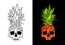 Skull Fruit Pineapple. Tattoo Concept.