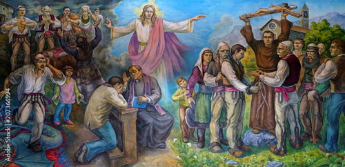 Fotografie, Obraz  The altarpiece shows the faith of the Albanian people in Jesus Christ in Mother Teresa cathedral in Vau i Dejes, Albania