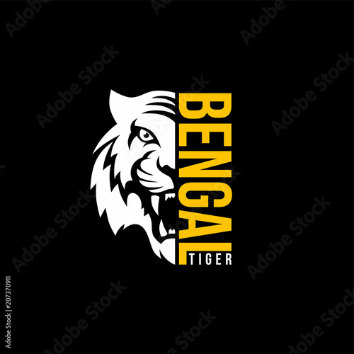 Valokuvatapetti intimidating tiger front view theme logo template