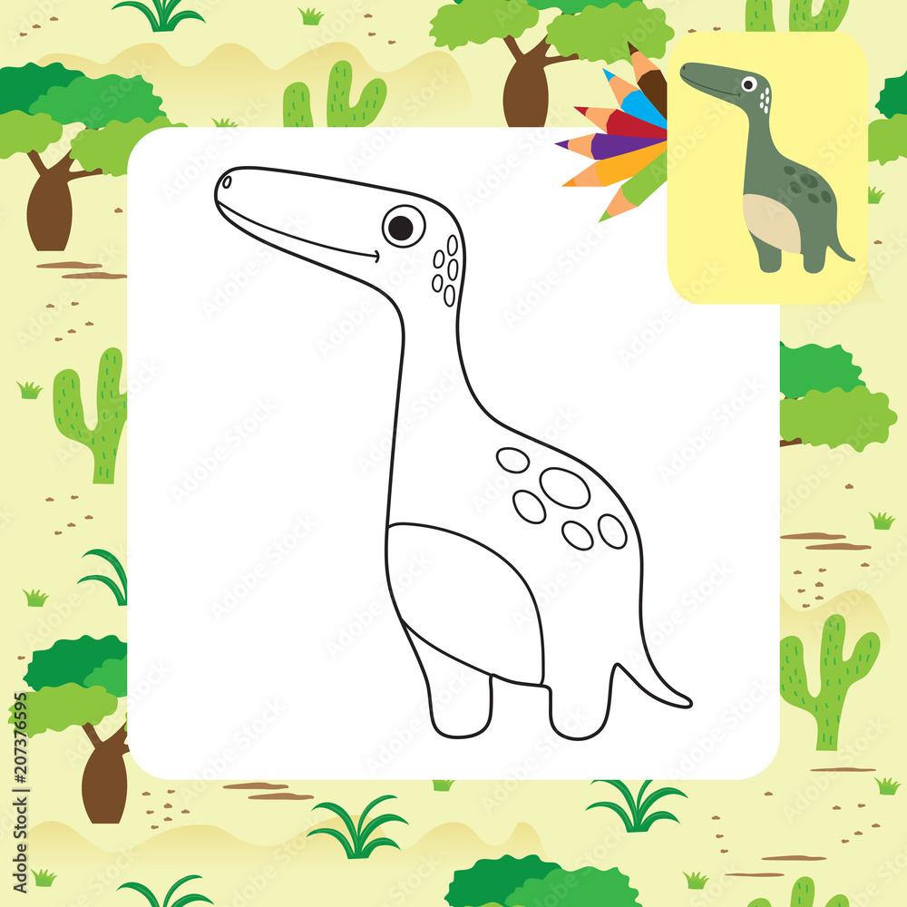 Cute Dino coloring book Foto, Poster, Wandbilder bei EuroPosters