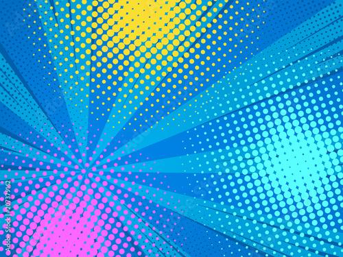 Acrylic Prints Pop Art Abstract comics pop art style blank layout. Rays and halftone dot .