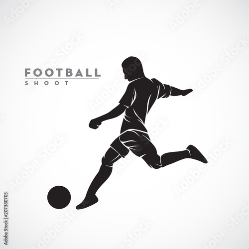 silhouette football player ready to shoot the ball Fototapet
