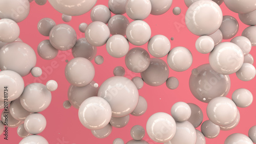 White spheres of random size on red background