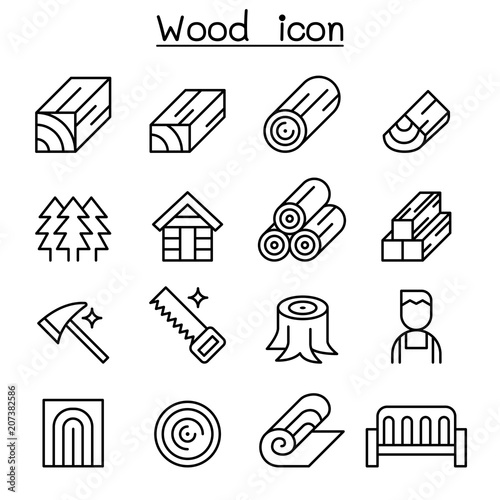 Wood icon set in thin line style Tableau sur Toile