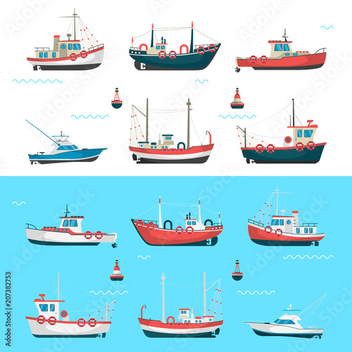 Fishing boats side view and buoys with blue sea background and isolated on white. Side view illustration. Wall mural