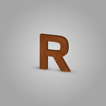 Realistic Wood Character From A Typeset, Vector Illustration