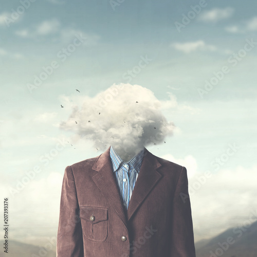 stressed man head in the cloud Wall mural