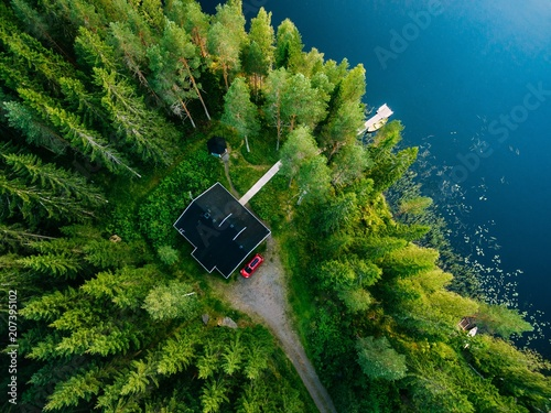 Poster de jardin Lac / Etang Aerial view of wooden cottage in green forest by the blue lake in rural summer Finland
